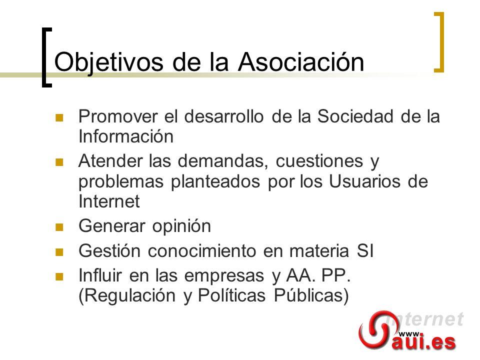 Objetivos de la Asociación Promover el desarrollo de la Sociedad de la Información Atender las demandas, cuestiones y problemas planteados por los Usu