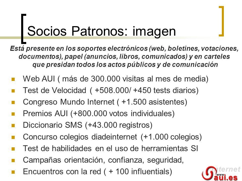 Socios Patronos: imagen Web AUI ( más de 300.000 visitas al mes de media) Test de Velocidad ( +508.000/ +450 tests diarios) Congreso Mundo Internet (