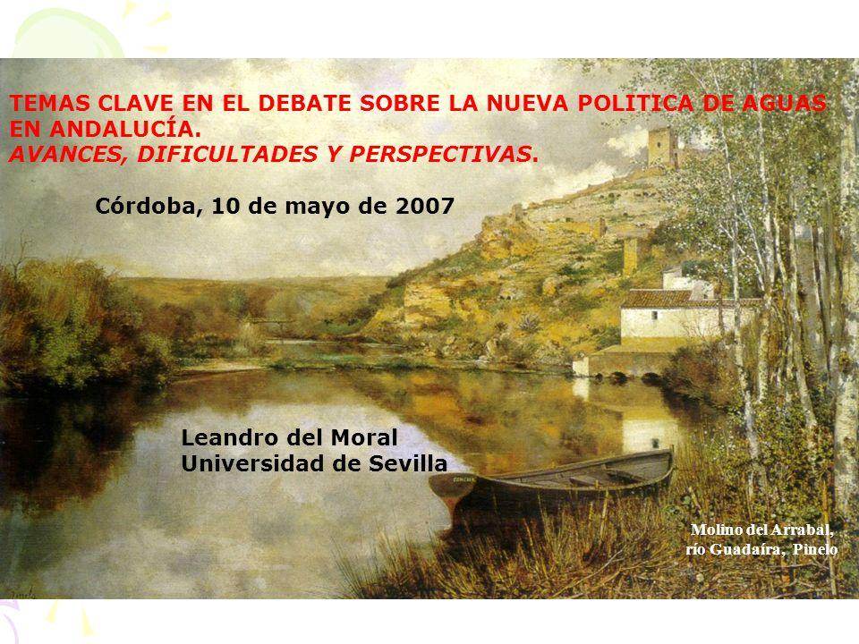 Molino del Arrabal, río Guadaíra, Pinelo TEMAS CLAVE EN EL DEBATE SOBRE LA NUEVA POLITICA DE AGUAS EN ANDALUCÍA.