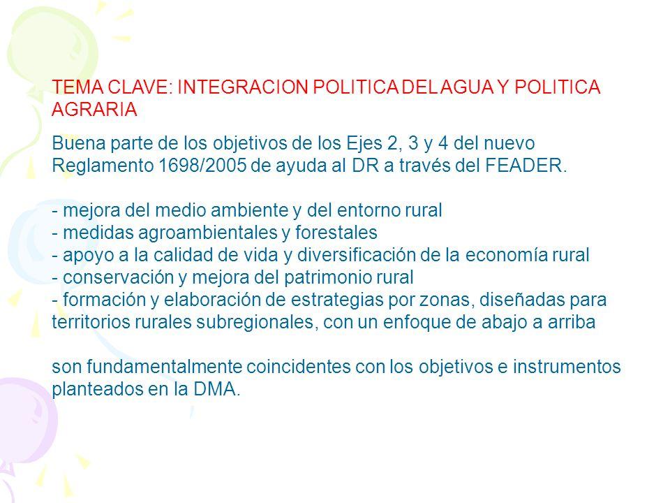 3. RELACIÓN CLAVE ENTRE AGUA Y POLÍTICAS TERRITORIALES a) Política agrícola: PAC. Hasta la actualidad, dinámica de crecimiento. Incertidumbre sobre lo