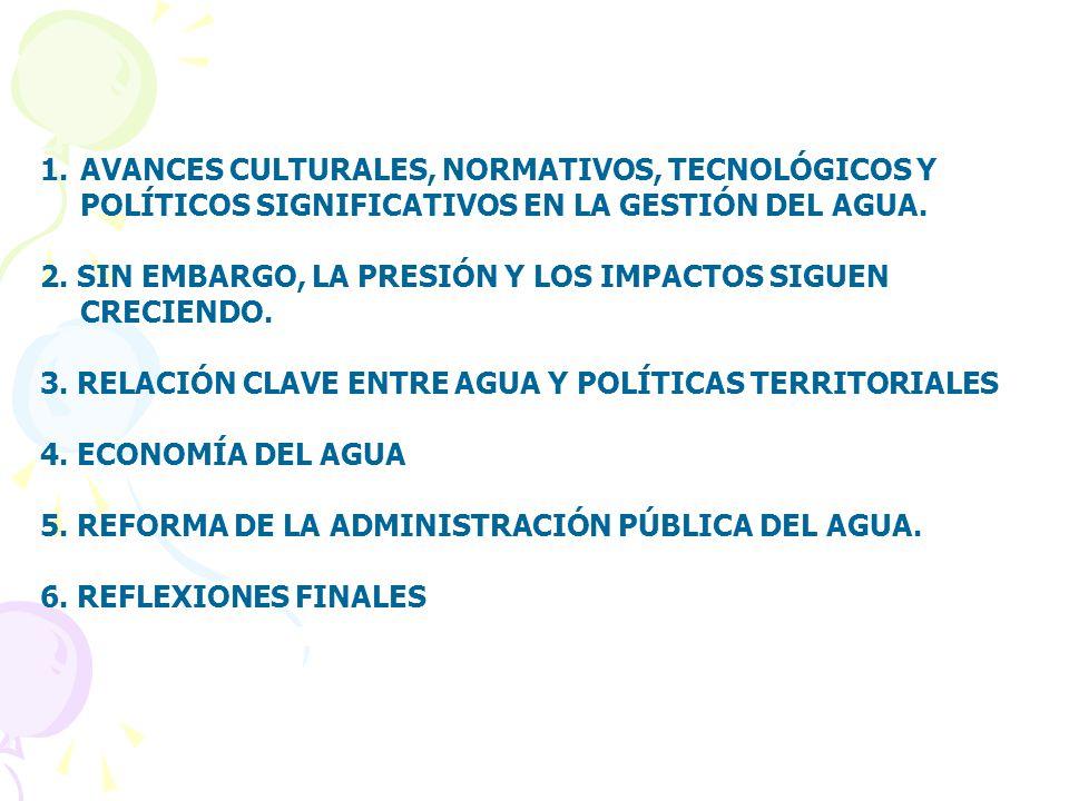 1.AVANCES CULTURALES, NORMATIVOS, TECNOLÓGICOS Y POLÍTICOS SIGNIFICATIVOS EN LA GESTIÓN DEL AGUA.