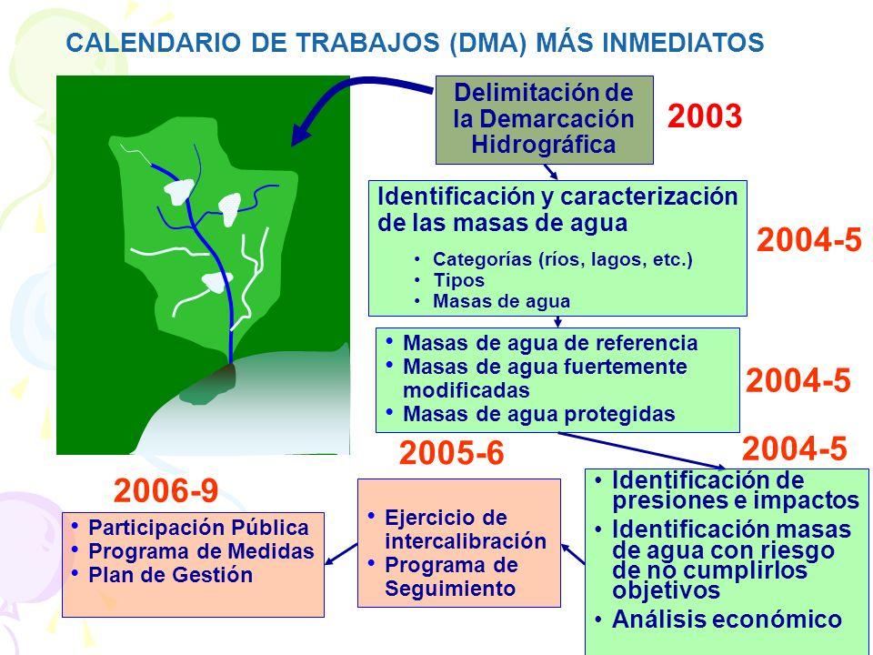 CALENDARIO DE TRABAJOS (DMA) MÁS INMEDIATOS Delimitación de la Demarcación Hidrográfica Identificación y caracterización de las masas de agua Categorías (ríos, lagos, etc.) Tipos Masas de agua 2003 Masas de agua de referencia Masas de agua fuertemente modificadas Masas de agua protegidas 2004-5 Ejercicio de intercalibración Programa de Seguimiento Identificación de presiones e impactos Identificación masas de agua con riesgo de no cumplirlos objetivos Análisis económico 2004-5 2005-6 2004-5 Participación Pública Programa de Medidas Plan de Gestión 2006-9