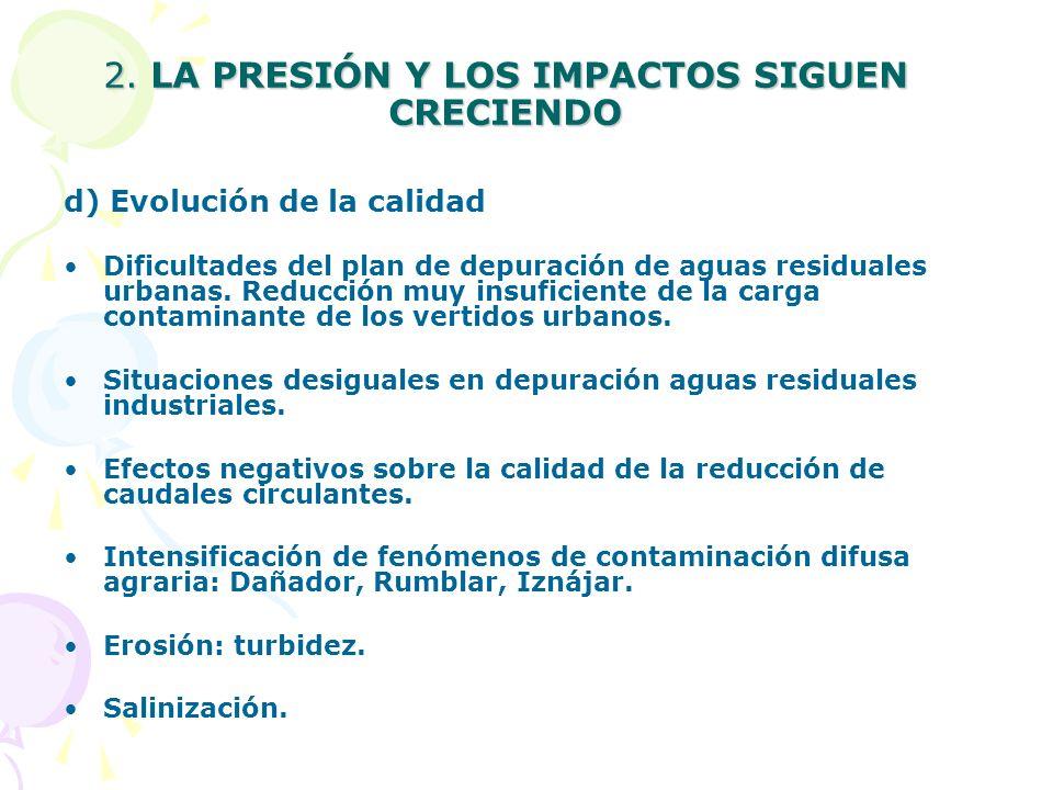 2. SIN EMBARGO, LA PRESIÓN Y LOS IMPACTOS SIGUEN CRECIENDO a) Aumento de las extracciones, de una manera especialmente significativa en aguas subterrá