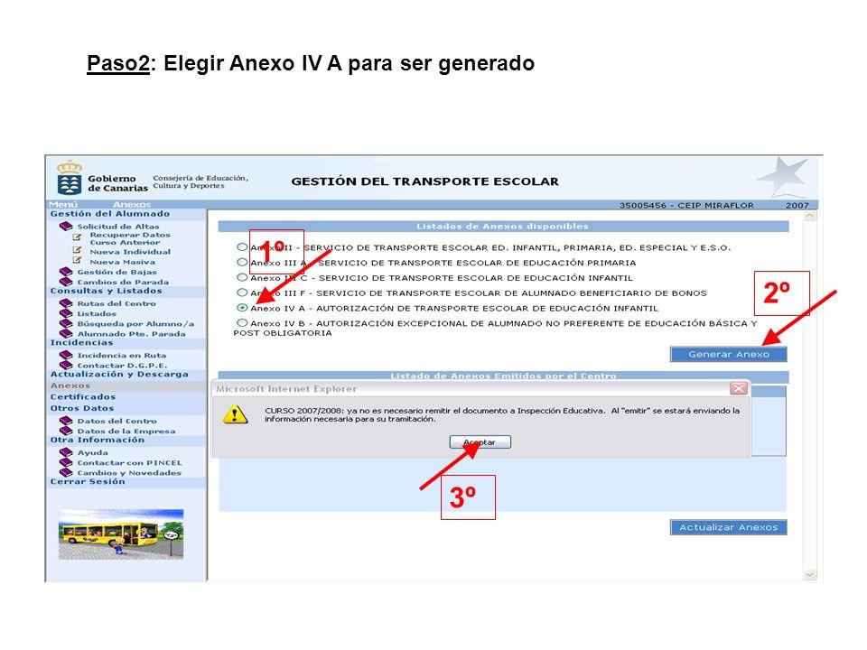 1º 2º 3º Paso2: Elegir Anexo IV A para ser generado