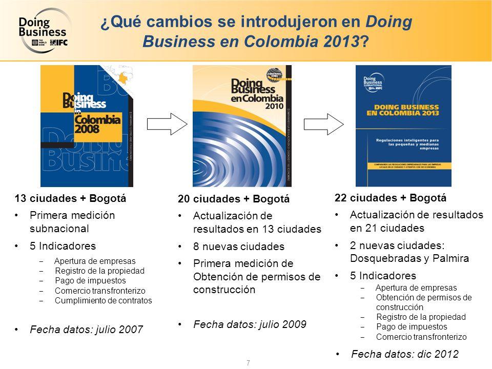 ¿Qué cambios se introdujeron en Doing Business en Colombia 2013.