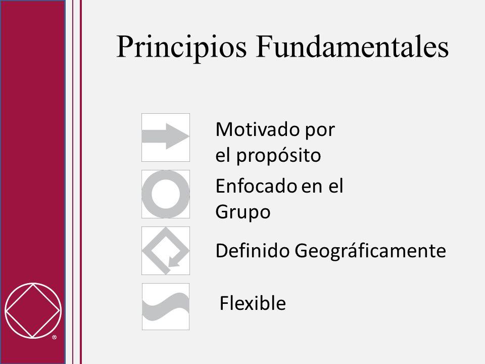 Principios Fundamentales Motivado por el propósito Flexible Definido Geográficamente Enfocado en el Grupo