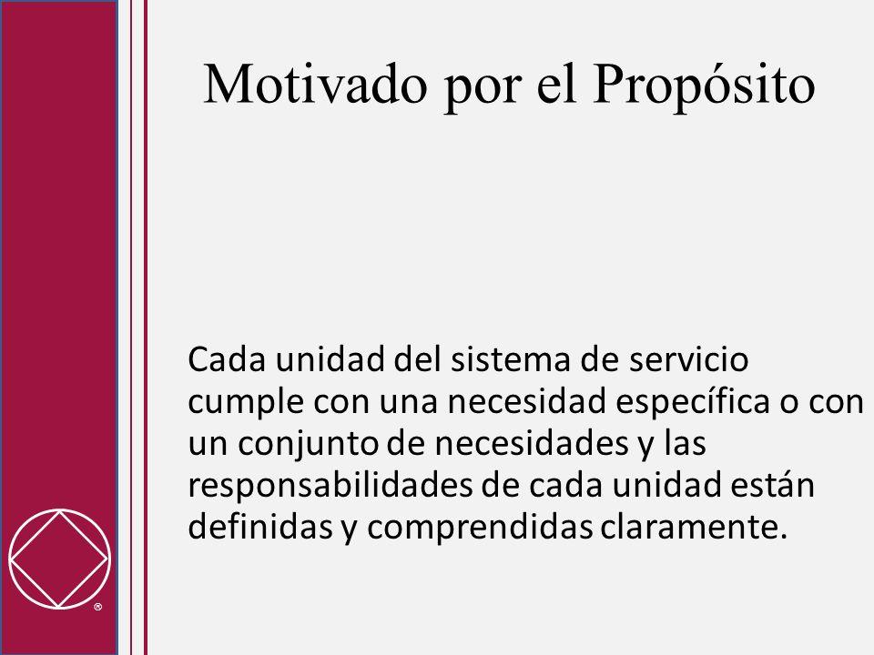 Motivado por el Propósito Cada unidad del sistema de servicio cumple con una necesidad específica o con un conjunto de necesidades y las responsabilid