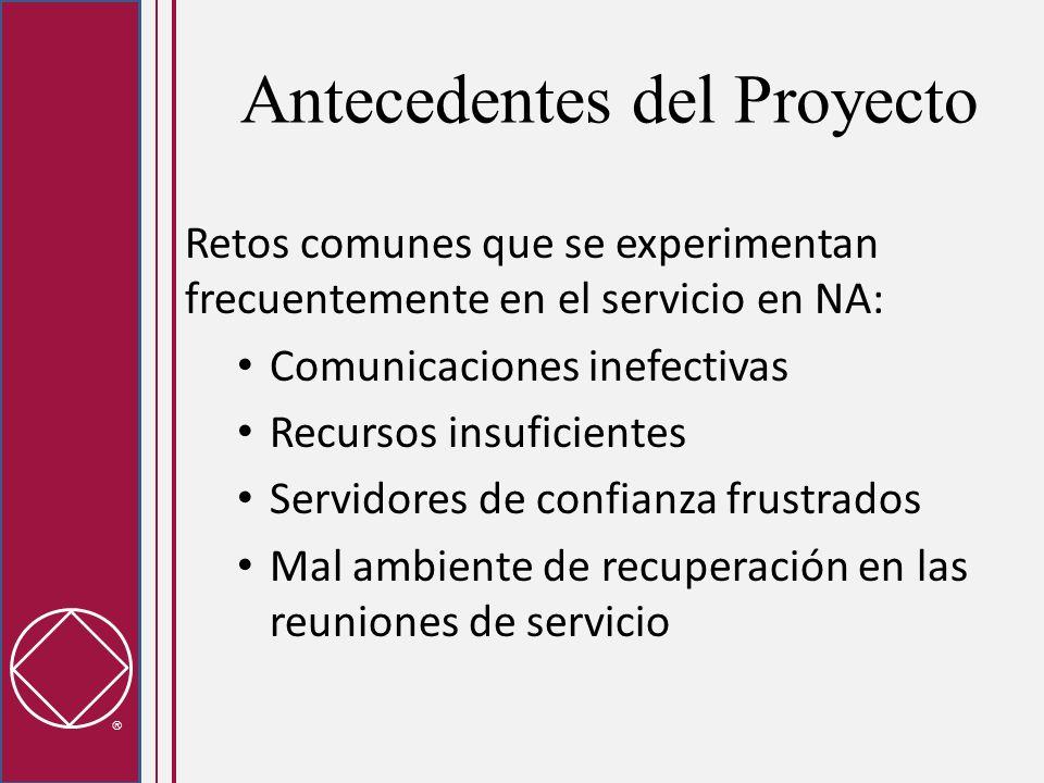 Antecedentes del Proyecto Retos comunes que se experimentan frecuentemente en el servicio en NA: Comunicaciones inefectivas Recursos insuficientes Ser