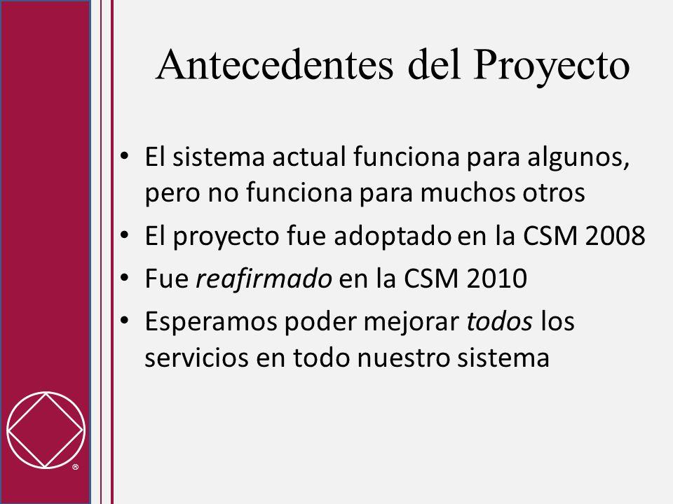 Antecedentes del Proyecto El sistema actual funciona para algunos, pero no funciona para muchos otros El proyecto fue adoptado en la CSM 2008 Fue reaf