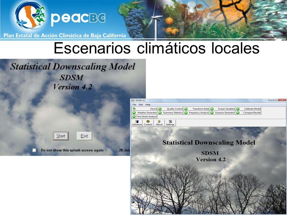 TMAX media estacional y anual (1961-1990) y diferencia generada por CC, A2 y B2, para los 2020s, 2050s y 2080s en Mexicali EstaciónTemperatura máxima media Actual (1961- 1990) Cambio Climático (2010-2039)(2040-2069)(2070-2099) A2B2A2B2A2B2 Primavera29.70.60.71.61.02.41.6 Verano40.61.71.92.62.74.32.8 Otoño31.51.51.92.72.53.93.0 Invierno21.51.71.82.72.84.43.7 Anual30.71.31.52.32.23.72.7