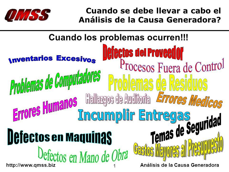 http://www.qmss.bizAnálisis de la Causa Generadora 1 Cuando se debe llevar a cabo el Análisis de la Causa Generadora? Cuando los problemas ocurren!!!