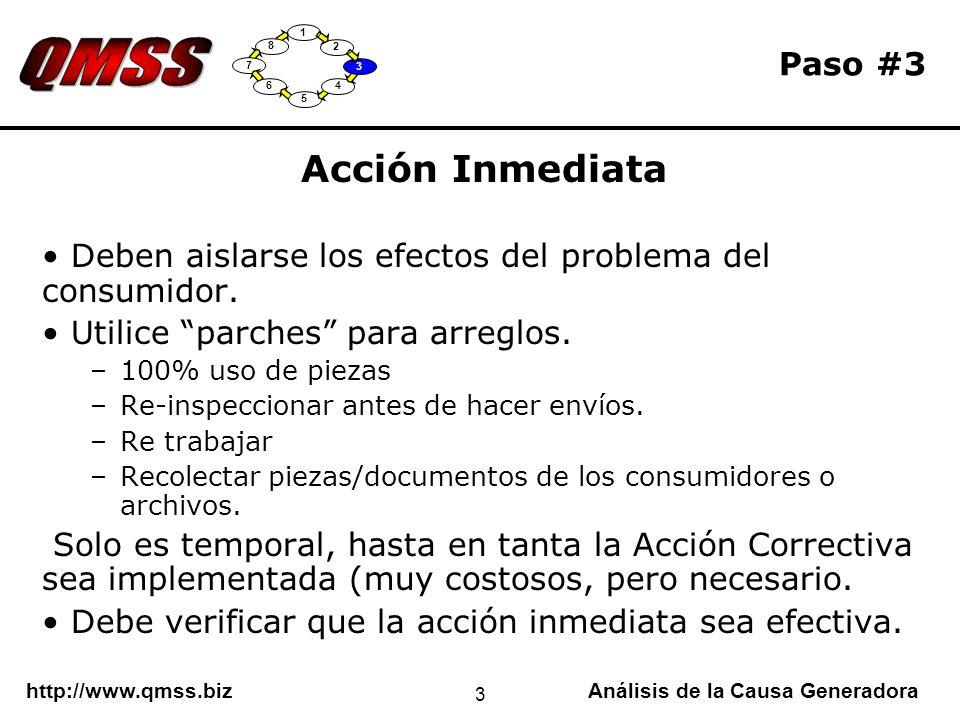 http://www.qmss.bizAnálisis de la Causa Generadora 3 Paso #3 Acción Inmediata Deben aislarse los efectos del problema del consumidor. Utilice parches