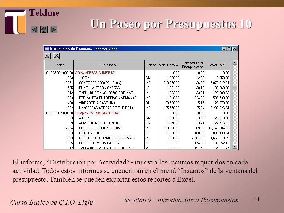 11 Curso Básico de C.I.O. Light Sección 9 - Introducción a Presupuestos Un Paseo por Presupuestos 10 El informe, Distribución por Actividad - muestra