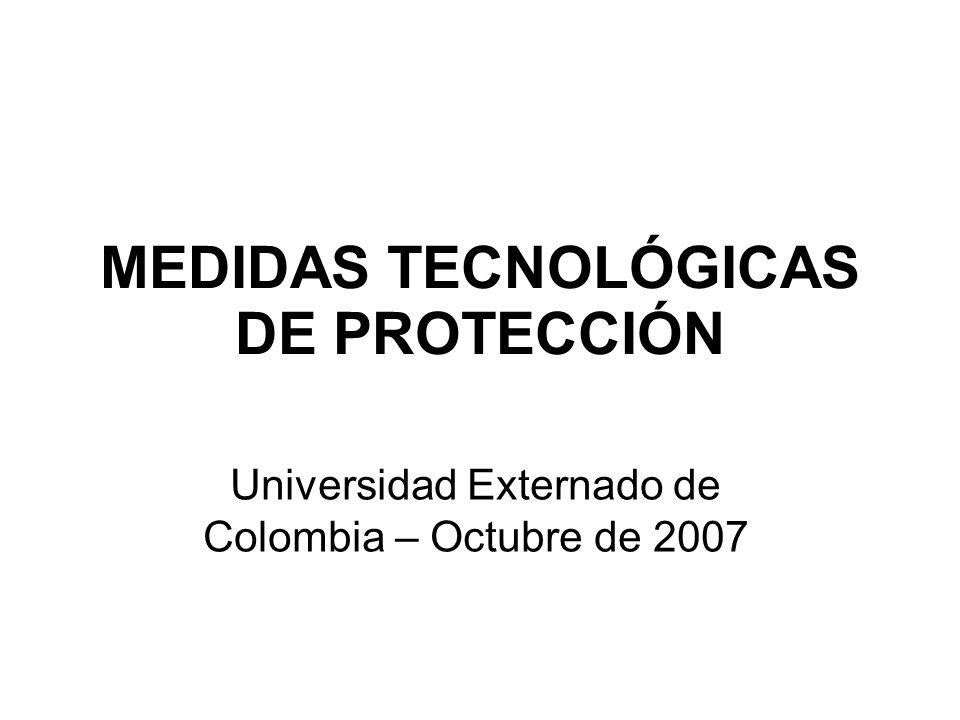 MEDIDAS TECNOLÓGICAS DE PROTECCIÓN Universidad Externado de Colombia – Octubre de 2007