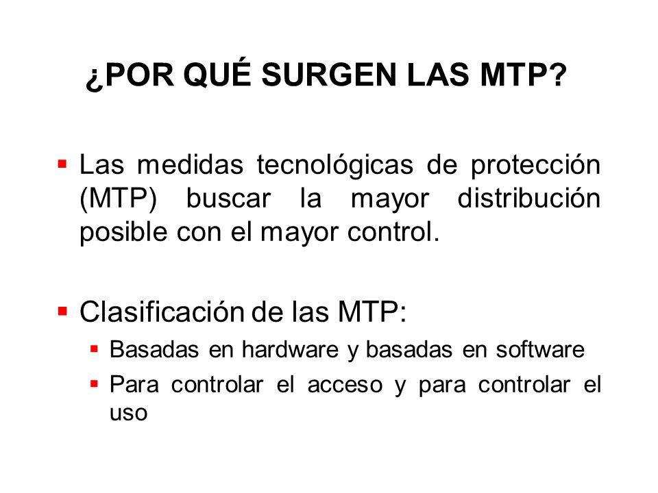 ¿POR QUÉ SURGEN LAS MTP? Las medidas tecnológicas de protección (MTP) buscar la mayor distribución posible con el mayor control. Clasificación de las