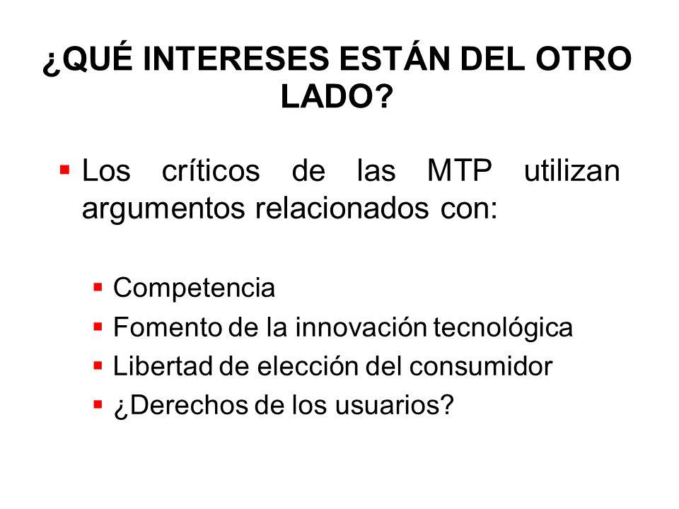 ¿QUÉ INTERESES ESTÁN DEL OTRO LADO? Los críticos de las MTP utilizan argumentos relacionados con: Competencia Fomento de la innovación tecnológica Lib