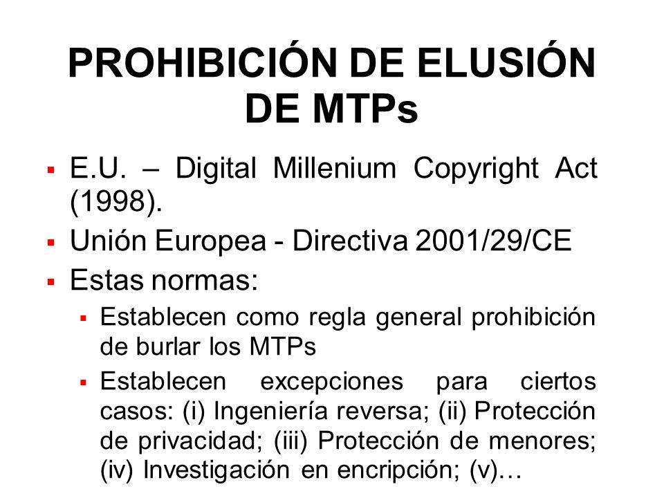 PROHIBICIÓN DE ELUSIÓN DE MTPs E.U. – Digital Millenium Copyright Act (1998). Unión Europea - Directiva 2001/29/CE Estas normas: Establecen como regla