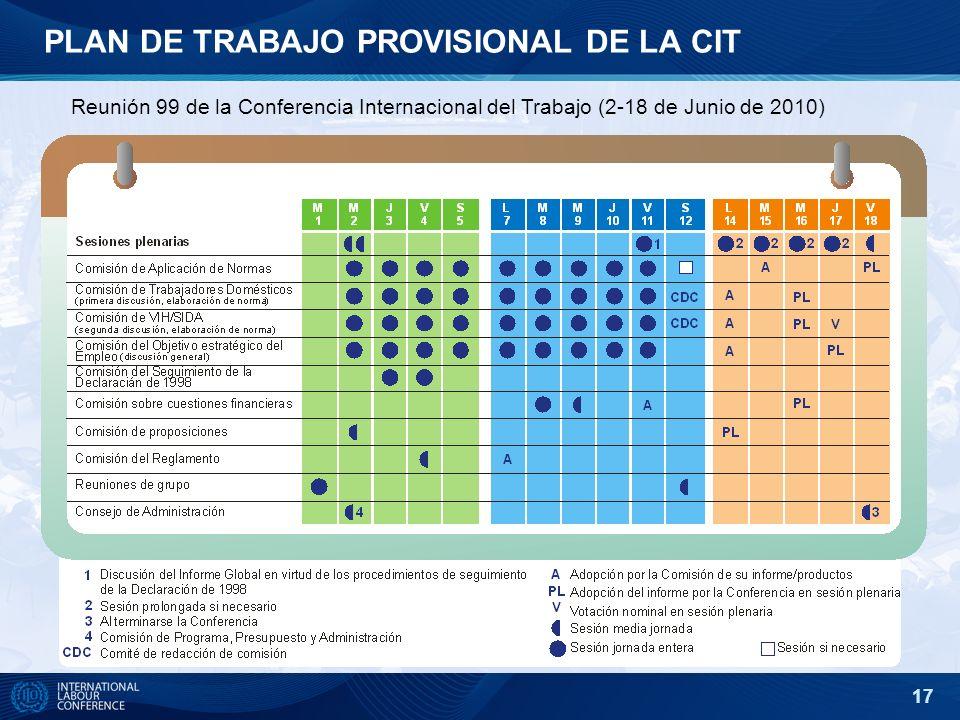 17 PLAN DE TRABAJO PROVISIONAL DE LA CIT Reunión 99 de la Conferencia Internacional del Trabajo (2-18 de Junio de 2010)