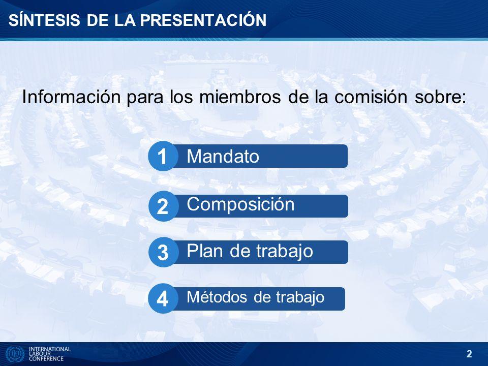 2 SÍNTESIS DE LA PRESENTACIÓN Informaci ón para los miembros de la comisión sobre: Mandato Composición Plan de trabajo Métodos de trabajo 1 2 3 4