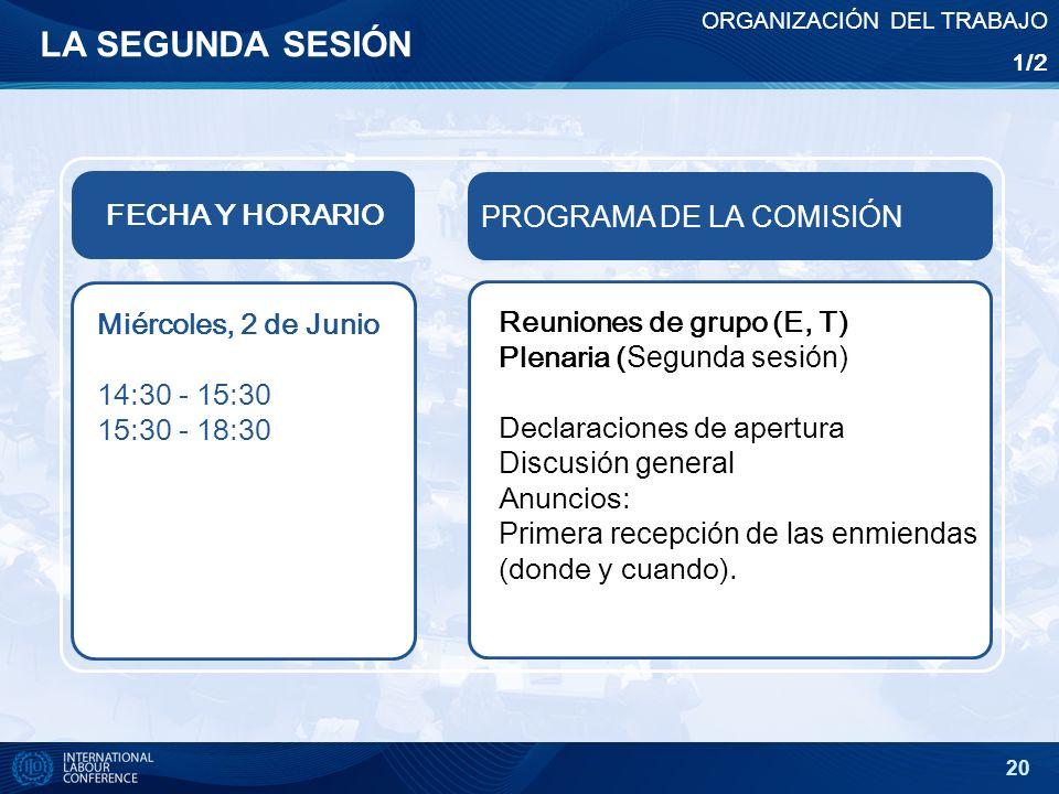 20 LA SEGUNDA SESIÓN FECHA Y HORARIO PROGRAMA DE LA COMISIÓN Miércoles, 2 de Junio 14:30 - 15:30 15:30 - 18:30 Reuniones de grupo (E, T) Plenaria ( Se