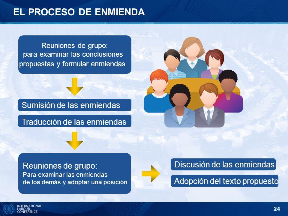 24 EL PROCESO DE ENMIENDA Reuniones de grupo: para examinar las conclusiones propuestas y formular enmiendas. Adopción del texto propuesto Sumisión de