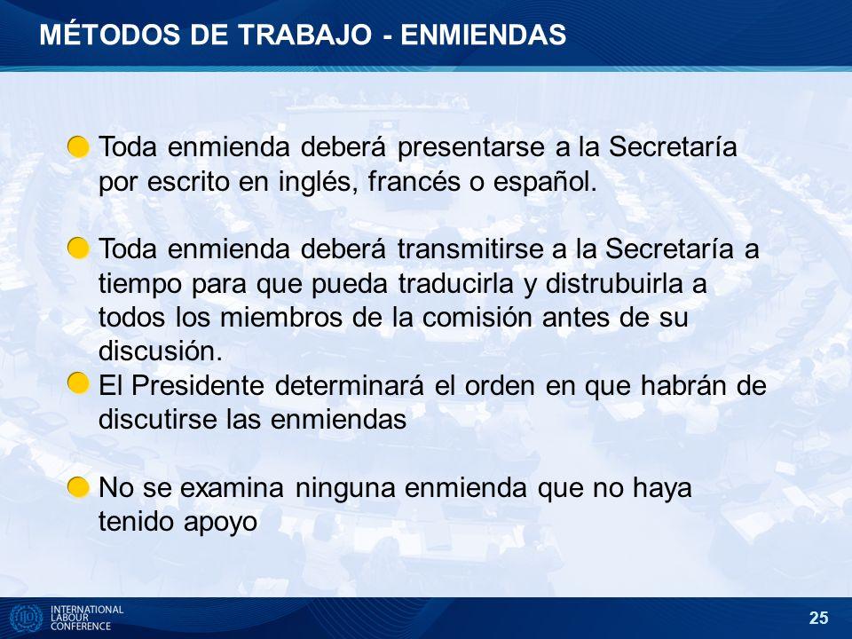 25 MÉTODOS DE TRABAJO - ENMIENDAS Toda enmienda deberá presentarse a la Secretaría por escrito en inglés, francés o español. Toda enmienda deberá tran