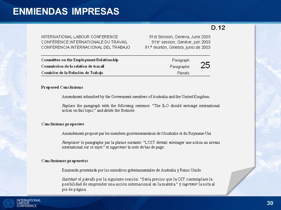30 ENMIENDAS IMPRESAS D.12