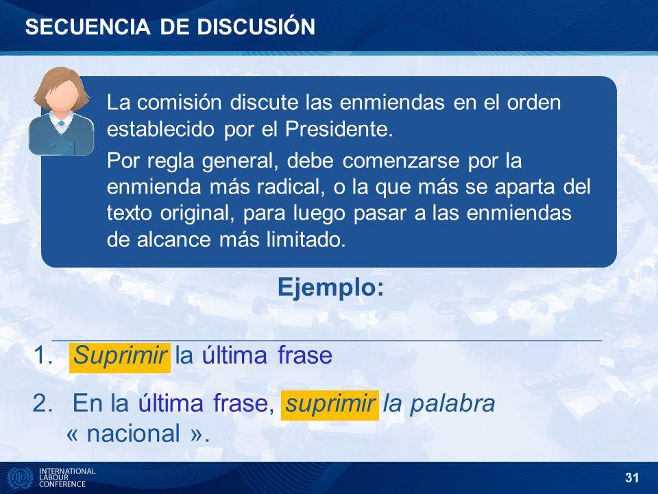 31 SECUENCIA DE DISCUSIÓN La comisión discute las enmiendas en el orden establecido por el Presidente. Por regla general, debe comenzarse por la enmie