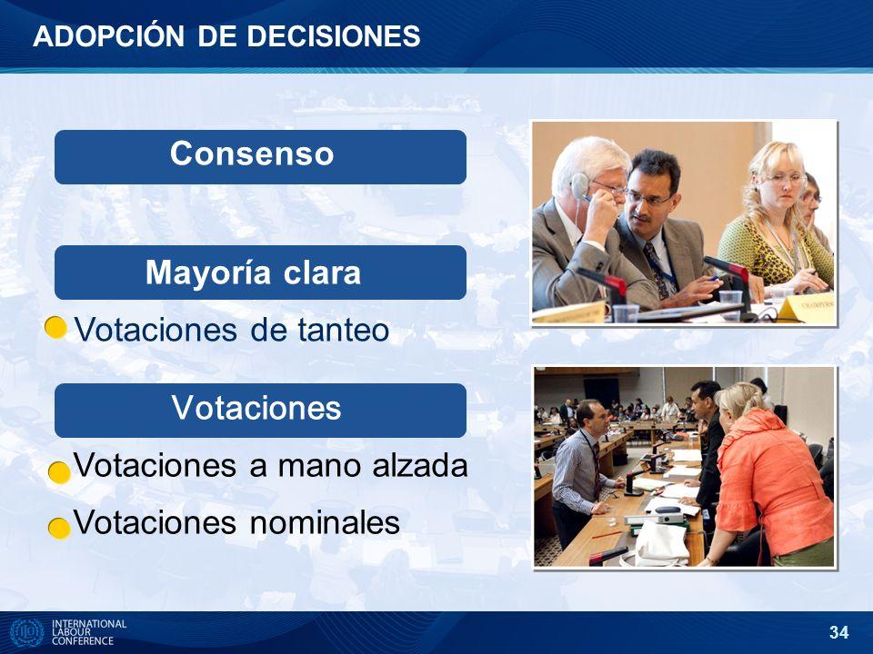 34 ADOPCIÓN DE DECISIONES Consenso Votaciones Votaciones a mano alzada Votaciones nominales Mayoría clara Votaciones de tanteo