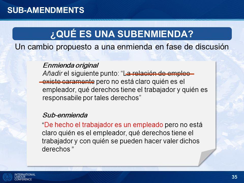 35 SUB-AMENDMENTS Enmienda original Añadir el siguiente punto: La relación de empleo existe caramente pero no está claro quién es el empleador, qué de