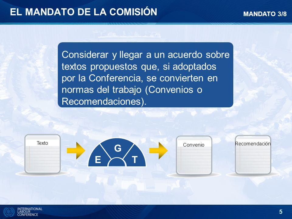 5 EL MANDATO DE LA COMISIÓN Considerar y llegar a un acuerdo sobre textos propuestos que, si adoptados por la Conferencia, se convierten en normas del