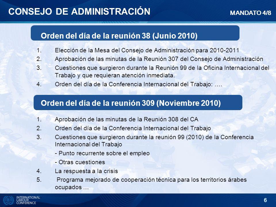 6 CONSEJO DE ADMINISTRACIÓN 1.Elección de la Mesa del Consejo de Administración para 2010-2011 2.Aprobación de las minutas de la Reunión 307 del Conse