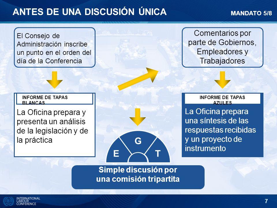 7 El Consejo de Administración inscribe un punto en el orden del día de la Conferencia Comentarios por parte de Gobiernos, Empleadores y Trabajadores