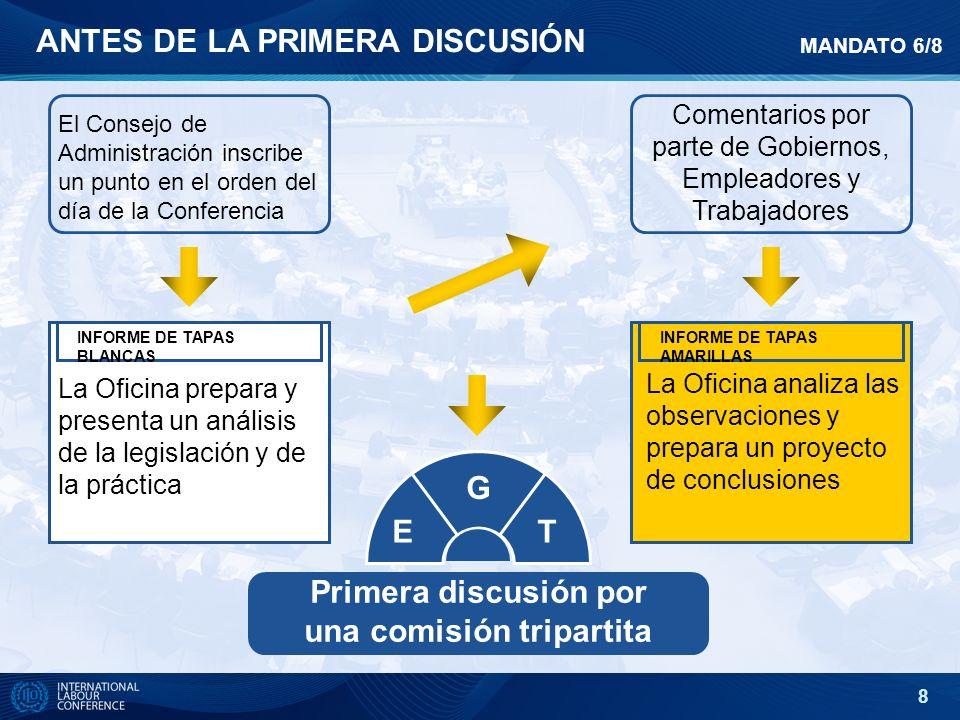 8 ANTES DE LA PRIMERA DISCUSIÓN El Consejo de Administración inscribe un punto en el orden del día de la Conferencia Comentarios por parte de Gobierno