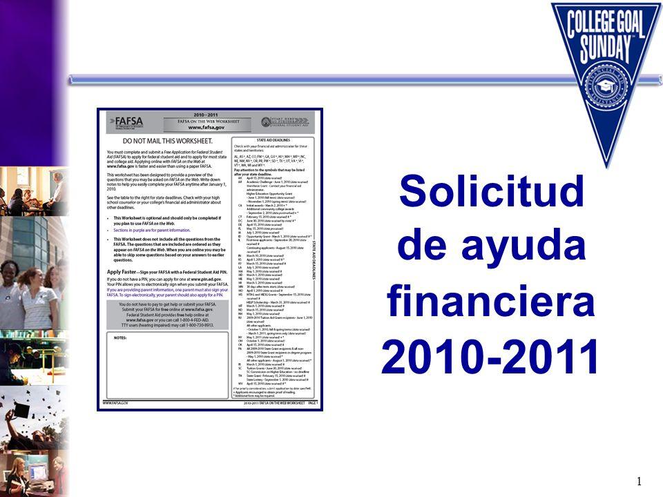 1 Solicitud de ayuda financiera 2010-2011