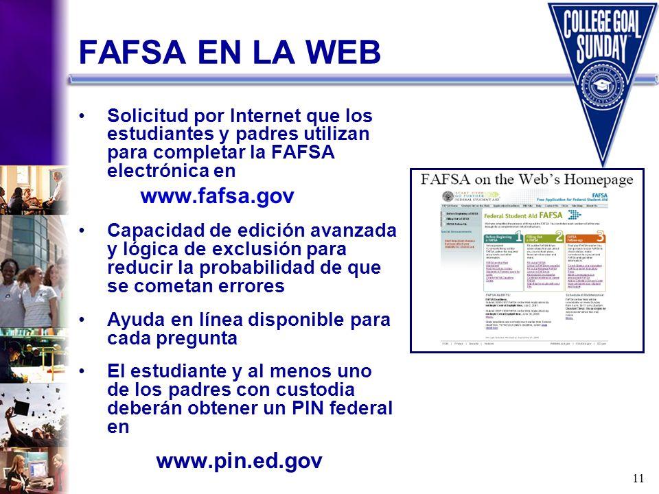 11 FAFSA EN LA WEB Solicitud por Internet que los estudiantes y padres utilizan para completar la FAFSA electrónica en www.fafsa.gov Capacidad de edic