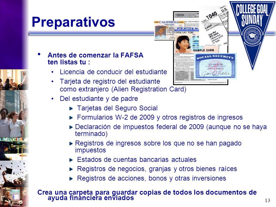 13 Preparativos Antes de comenzar la FAFSA ten listas tu : Licencia de conducir del estudiante Tarjeta de registro del estudiante como extranjero (Ali