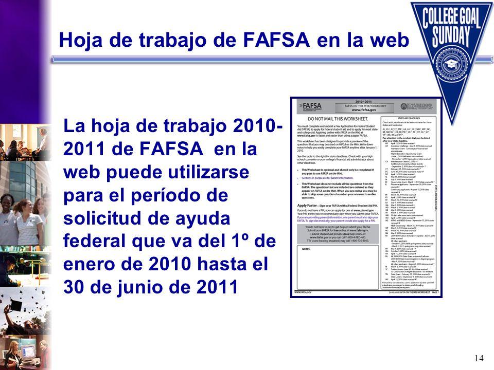 14 Hoja de trabajo de FAFSA en la web La hoja de trabajo 2010- 2011 de FAFSA en la web puede utilizarse para el período de solicitud de ayuda federal