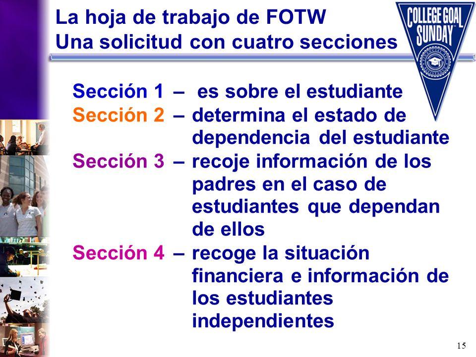 15 La hoja de trabajo de FOTW Una solicitud con cuatro secciones Sección 1– es sobre el estudiante Sección 2–determina el estado de dependencia del es