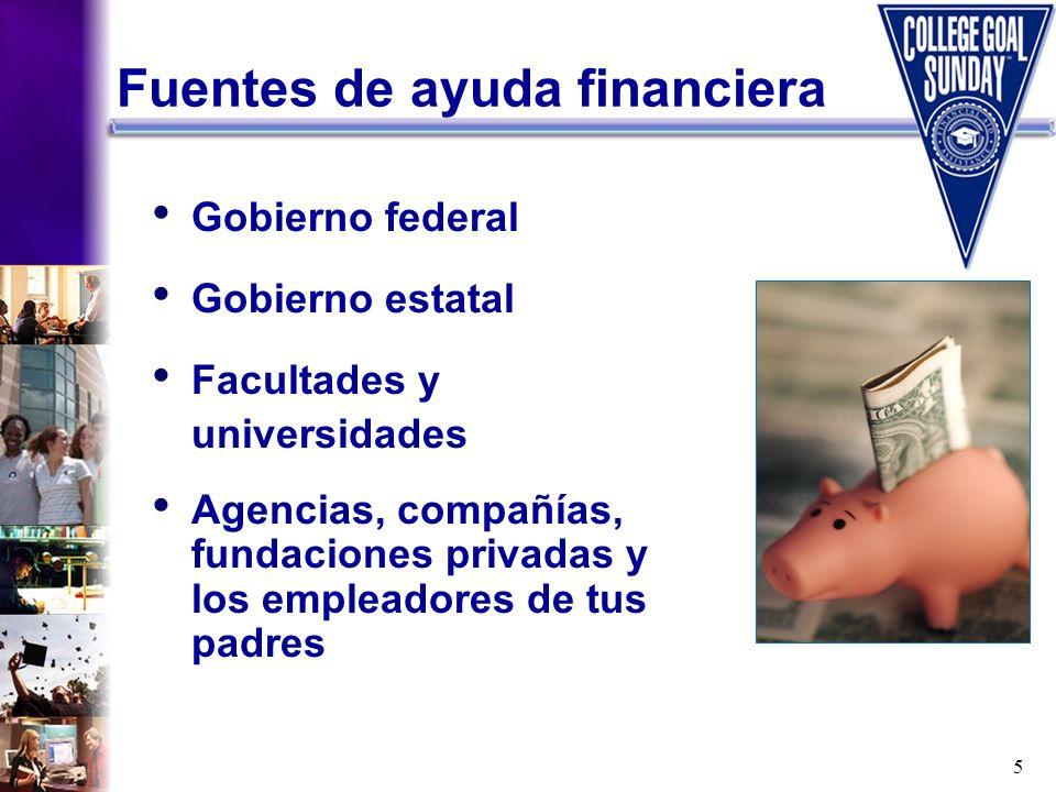 5 Gobierno federal Gobierno estatal Facultades y universidades Agencias, compañías, fundaciones privadas y los empleadores de tus padres Fuentes de ay
