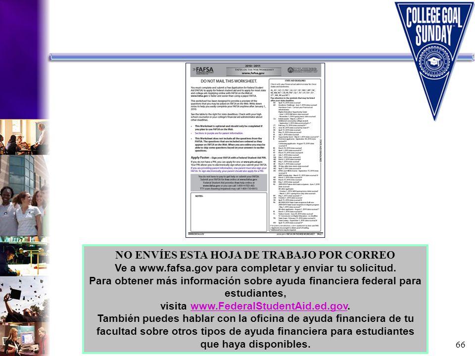 66 NO ENVÍES ESTA HOJA DE TRABAJO POR CORREO Ve a www.fafsa.gov para completar y enviar tu solicitud. Para obtener más información sobre ayuda financi