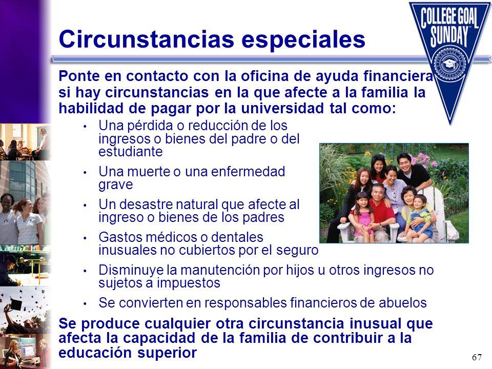 67 Circunstancias especiales Ponte en contacto con la oficina de ayuda financiera si hay circunstancias en la que afecte a la familia la habilidad de