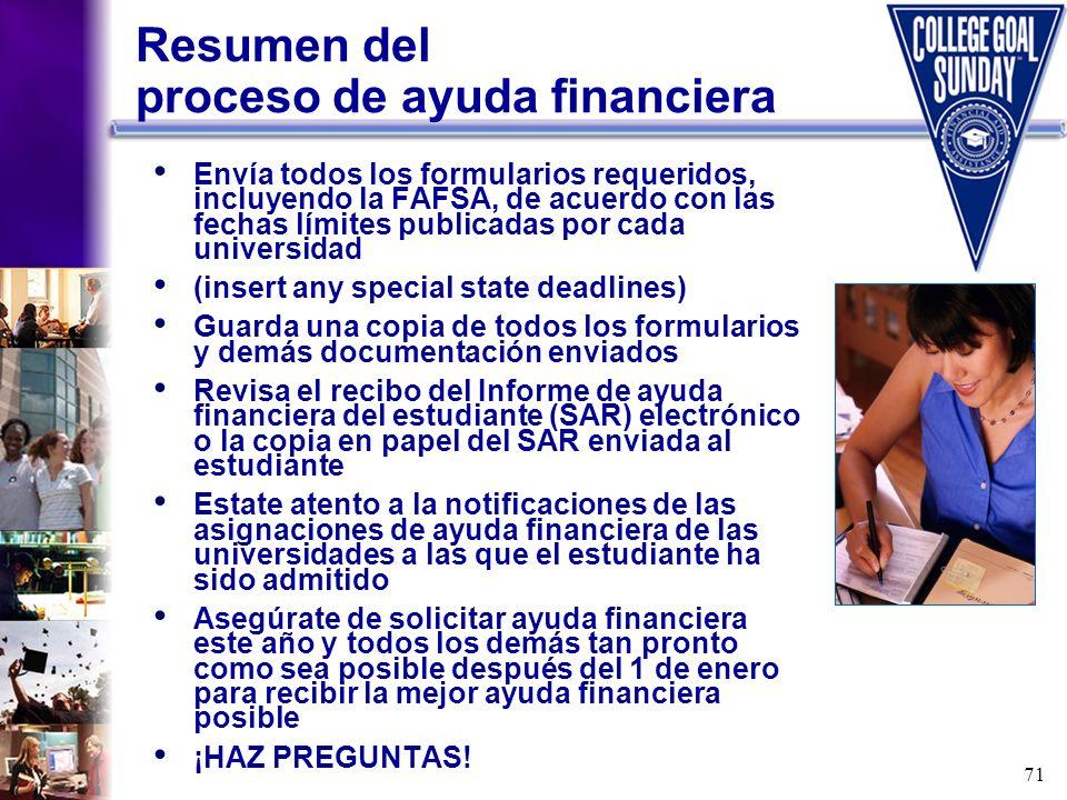 71 Resumen del proceso de ayuda financiera Envía todos los formularios requeridos, incluyendo la FAFSA, de acuerdo con las fechas límites publicadas p