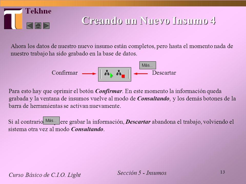 13 Creando un Nuevo Insumo 4 Curso Básico de C.I.O. Light Sección 5 - Insumos Ahora los datos de nuestro nuevo insumo están completos, pero hasta el m