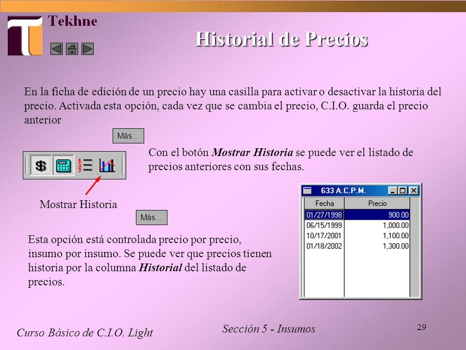 29 Historial de Precios Curso Básico de C.I.O. Light Sección 5 - Insumos En la ficha de edición de un precio hay una casilla para activar o desactivar