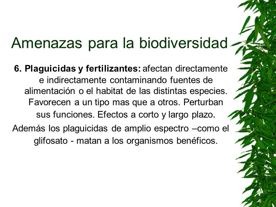 Amenazas para la biodiversidad 6. Plaguicidas y fertilizantes: afectan directamente e indirectamente contaminando fuentes de alimentación o el habitat
