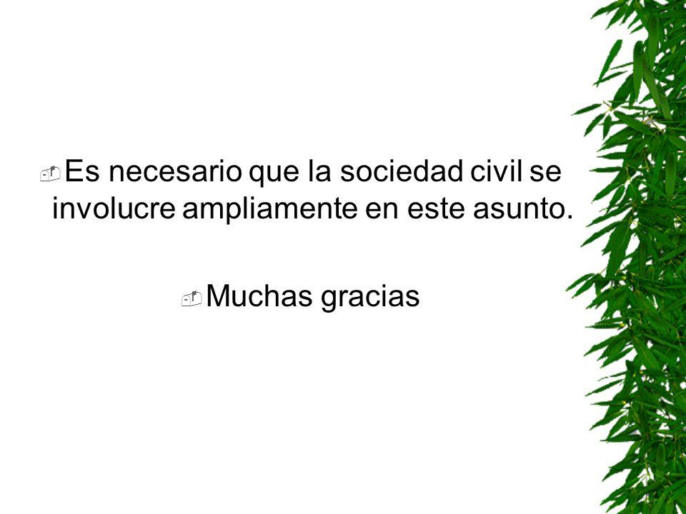 Es necesario que la sociedad civil se involucre ampliamente en este asunto. Muchas gracias