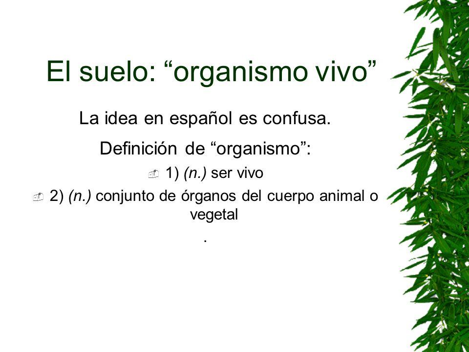 El suelo: organismo vivo La idea en español es confusa. Definición de organismo: 1) (n.) ser vivo 2) (n.) conjunto de órganos del cuerpo animal o vege