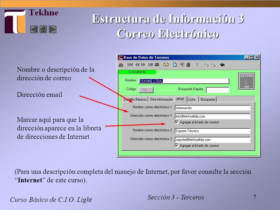 5 Curso Básico de C.I.O. Light Sección 3 - Terceros Nombre o descripción de la dirección de correo Dirección email Marcar aquí para que la dirección a