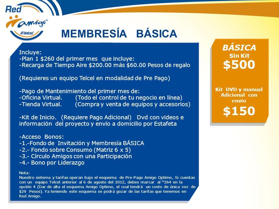 MEMBRESÍA BÁSICA $500 Kit DVD y manual Adicional con envío $150 Incluye: -Plan 1 $260 del primer mes que incluye: -Recarga de Tiempo Aire $200.00 más